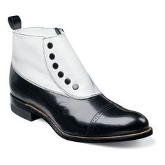 Madison Stacy Adams Mens Madison Cap Toe Kidskin Classic Demi Boot $135.00 AT vintagedancer.com