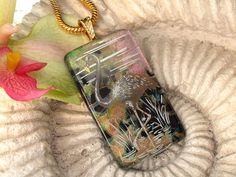 Dichroic Glass Pendant - Dichroic Fusd Glass Jewelry - Flamingo Pendant - Fused Glass Jewelry