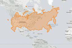 А вот, что получится, если сравнить США и Россию Фото: thetruesize.com