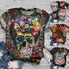 Women's Short Sleeve Skull Printed O-Neck T-Shirt – Everything Skull Clothing Merchandise and Accessories Pretty Shirts, Cute Tshirts, Love Shirt, Shirt Style, Skull Print, Make Your Own Shirt, Cute Summer Tops, Plus Size Women, Spandex