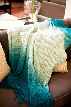 Turquoise Ombre Throw Blanket