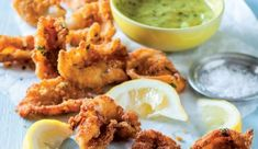 Crunchy calamari with a delicious herby mayonnaise for dipping.