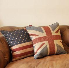 1 Decorative Linen cotton Pillow Cover British by Emilybeauty, $16.99
