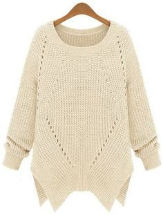 Apricot Long Sleeve Hollow Asymmetrical Sweater - Sheinside.com