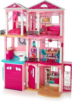 Are you buying for a Barbie fan? Then this brilliant Barbie Dreamhouse is the perfect gift! The Barbie Dream House has delighted children for years… Mattel Barbie, Barbie Doll Set, Barbie Doll House, Barbie Dream House, Barbie Room, Dreamhouse Barbie, House Games, Princess Toys, Barbie Furniture
