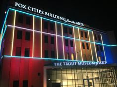 Trout Museum of Art lit up at night! theresnothingtobeafraidof:  Neon…is the best.
