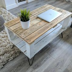 New variation of our reclaimed Pallet Coffee Table AHVIMA. Now available in Farmhouse Style! Each table is unique and the timber on top varies. You can be sure that theres no two identical tables, isnt that cool! We use only reclaimed wood to make our products. Were happy youre