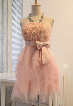 Sexy Elegant Rose Bowknot Beaded Strapless Party Dress