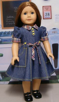 Molly Denim dress with plaid accents. Sewing Doll Clothes, Girl Doll Clothes, Doll Clothes Patterns, Girl Dolls, Ag Dolls, African Dresses For Kids, Dresses Kids Girl, Kids Outfits, Girls Denim Dress