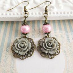 Pink with grey earrings, dangle earrings, rustic flower earrings, gray rose jewelry, gift for her, romantic jewelry