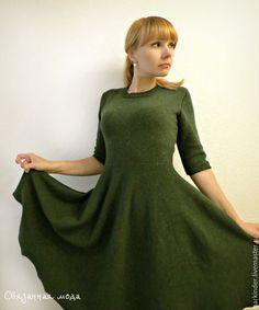 """Купить Вязаное платье """"Зелёный Твид"""" - тёмно-зелёный, однотонный, платье, вязаное платье"""