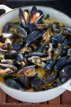 Delicious Mussels in a rich Pernod Cream broth... OMG!