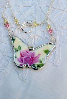 Broken China Jewelry China Butterfly by Robinsnestcreation1, $45.95
