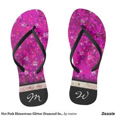 Hot Pink Rhinestone Glitter Diamond Sequin Initial Flip Flops