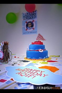 Aqif's first birthday cake ordered from Nadibakes. Nautical Theme