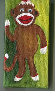 Waving Sock Monkey  with Daisy Painting by SharonFosterArt on Etsy, $20.00