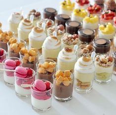 Romantic ideas, wedding desert ideas, wedding cake ideas, desert bar, do it yourself wedding cake i… Let your guests choose from a vast array of parfait flavors! Pin by Annette Forbes on Mj 10 Birthday party in 2019 The Eye candy competitor in the shape Dessert Shots, Dessert Bars, Dessert Recipes, Mini Dessert Cups, Cheesecake Recipes, Dessert Catering, Shot Glass Desserts, Catering Recipes, Catering Ideas