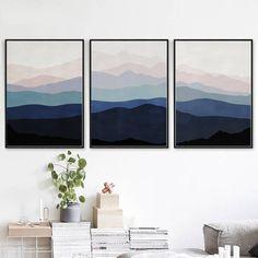 Mountain Art Blue Pink Print Set Of 3 Wall Art Abstract Mountains Bedroom Art Modern Artwork Downloa Blue Grey Walls, Navy Blue Wall Art, Grey Wall Art, Pink Wall Art, Blue Art, Wall Art Sets, Wall Art Prints, Pink Art, Mountain Bedroom