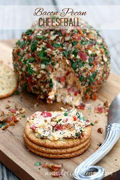 Party Appetizer Ideas   Bacon Pecan Cheeseball Recipe