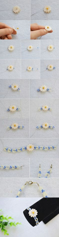 Tutorial on How to Make a Daisy Beaded Flower Bracelet Pattern in 15 Minutes fro… - Bracelets Jewelry Beaded Jewelry Patterns, Bracelet Patterns, Jewelry Crafts, Handmade Jewelry, Bead Jewellery, Jewelry Making Tutorials, Beads And Wire, Bead Weaving, Bracelet Making