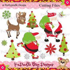 Santa and his reindeer Paper Piecing Pattern, Cutting File, Scrapbook, Silhouette Studio, SVG File, MTC, SCAL, Prettygrafik Design