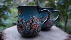 Hey, I found this really awesome Etsy listing at https://www.etsy.com/listing/472261693/blue-ceramic-mugs-owls-set-of-2-mugs