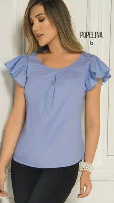 Pin von leonel esteban lugo m auf moda Blouse Styles, Blouse Designs, Bluse Outfit, Blouse Online, Blouse Dress, Work Attire, Refashion, Dress Patterns, Diy Clothes