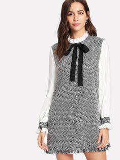 SheIn offers Contrast Pleated Sleeve Frayed Hem Tweed Dress & more to fit your fashionable needs. Preppy Outfits, Fashion Outfits, Womens Fashion, Dress Fashion, Stylish Outfits, Top Mode, Tweed Dress, Tweed Blazer, Mode Hijab