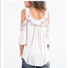 Lace detail open shoulder topLast in L This listing is for LARGE. Last one in L There are another listing for S and M. True to size. Made of rayon and spandex Bundle 2 or more for 15% off Tops Tees - Short Sleeve