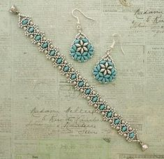 Linda's Crafty Inspirations: Lizbeth Band & Bethany Earrings Set - Blue & Silver