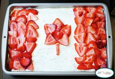 Strawberry Jello Poke Cake for Canada Day! Happy Birthday Canada, Happy Canada Day, Yummy Treats, Sweet Treats, Yummy Food, Tasty, Fun Food, Canada Day Crafts, Poke Cake Jello