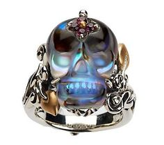 Barbara Bixby Sterling/18K Abalone Doublet & Gemstone Skull Ring  This would be for my son Roarke - he'd love it!