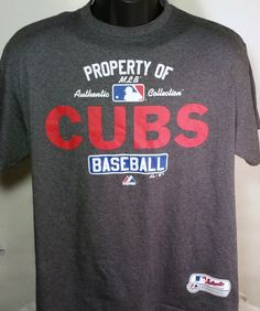 Chicago Cubs Majestic Mens Size Large Graphic T Shirt 50/50 #Majestic #GraphicTee #ChicagoCubs