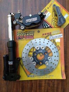 RRGS custom HONDA Ruckus front end disk brake conversion kit Honda Ruckus Parts, Custom Honda Ruckus, Racing Team