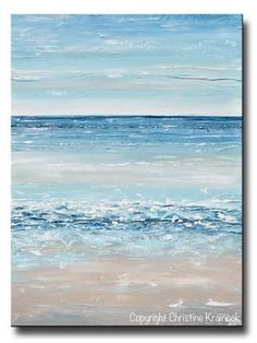 """At the Beach"" Canvas Print of Original Blue Abstract Painting Modern seascape beach art palette knife large wall art coastal home decor light blue beige white Blue Abstract Painting, Abstract Canvas Art, Seascape Paintings, Abstract Landscape, Canvas Wall Art, Painting Canvas, Knife Painting, Art Paintings, Ocean Canvas"