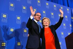 2015-10-03: Hillary Clinton with HRC president Chad Griffin, at HRC Breakfast.