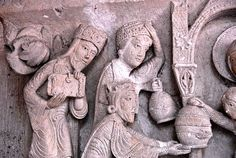 Chapter House Capitals in the Cathedrale St-Lazare, Autun Magi Romanesque Art, Stone Masonry, Three Wise Men, Creepy Pictures, Plastic Art, 12th Century, Green Man, Photo Illustration, Sculpture Art