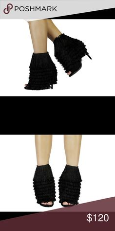 b73d3de2b6b136 Black Mambo By Nelly Bernal Add a little bit of MAMBO to to your shoe  collection. This fringe bootie can be paired with shorts