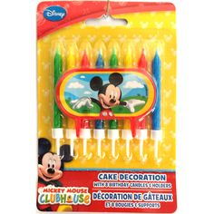 Mickey Mouse Cake Decoration with 8 Birthday Candles and Holders (9 Pcs)