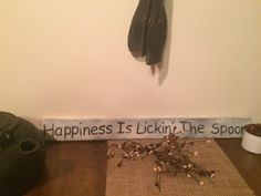 Happiness Is Lickin' the Spoon primitive shelf by Chessyflowers