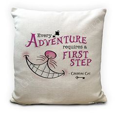 Alice in Wonderland Cushion Cover Cheshire Cat - Every Adventure requires a first step - Mad Hatter Tea Party Prop - Alice In Wonderland Artwork, Alice And Wonderland Quotes, Mad Hatter Tea, Party Props, Cheshire Cat, Tea Party, Bedding, Cushions, Throw Pillows