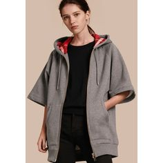 Burberry Zip-front Oversize Cotton Jersey Sweatshirt with Hood (17,660 THB) ❤ liked on Polyvore featuring tops, hoodies, cotton jersey, zip front top, burberry, short sleeve hoodies and short sleeve tops