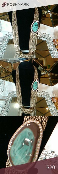 """Necklace Beautiful Necklace With A Total Of 21 Small Gold Chains Connecting To A 3"""" Stone. Stone Has A Green and Brown Jade Look With Beautiful Zirconia Diamonds & Other Stories Jewelry Necklaces"""
