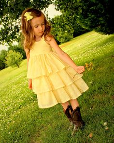 Girls Yellow Eyelet Flower Rustic Western Wedding Special Occasion Flower Girl Dress