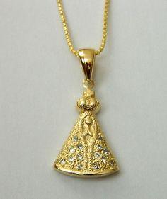 Colar Nossa Senhora Aparecida em banho de ouro rosé www.izabrandtacessorios.com.br