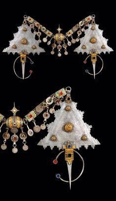 Morocco | Pectoral; pair of Tizerzai fibula ~ silver decorated with enamel and coloured glass cabochons.  Connector; silver with enamel and glass cabochons.  Coins date fro 1900 - 1920 | Tiznit region, around 1920/30 | 2800€ ~ sold (Jun '10)
