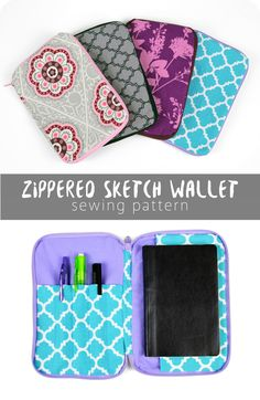 nice zippered sketchbook wallet with link to free .pdf instructions and photos
