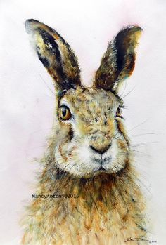 OPEN EDITION PRINT taken from my Original Watercolour Hare are you listening Image taken from an original watercolour painting Printed onto white mat paper 230g Finished size A4 size 210x297mm A3 size 297x420mm No copyright symbol on the print All designs are 100% original,