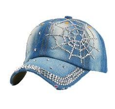 8a2efb39167 Distressed Denim Rhinestone Spiderweb Baseball Cap Denim Baseball Cap