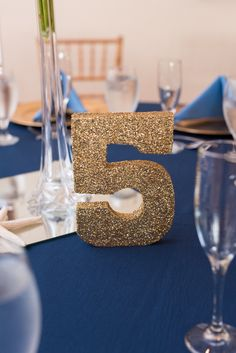 Elegant Gold and Navy Lesner Inn Wedding Reception - Gold table number
